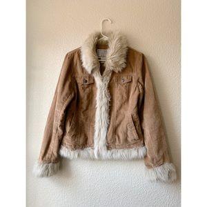 BB Dakota Faux Fur Corduroy Brown Jacket Medium